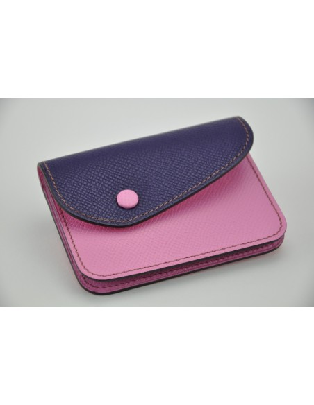 Porte-monnaie Duo en veau rose et violet. Made in France