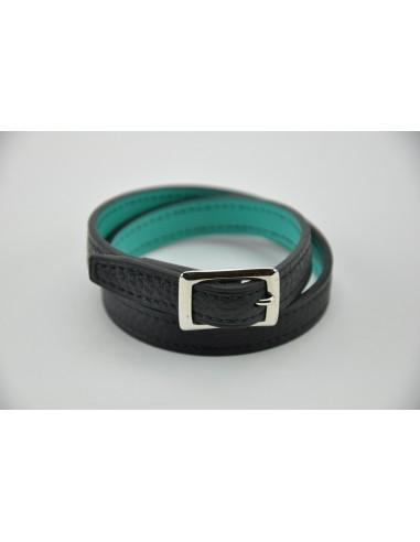 Bracelet taurillon marron et veau turquoise. Largeur 12 mm  - Tour de poignet 16-17 cm