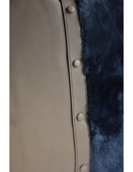 Cushion with grey calfskin and blue fur. Made in France