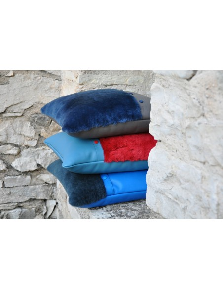Cushions in calfskin and fur. Original object for decoration. Made in France