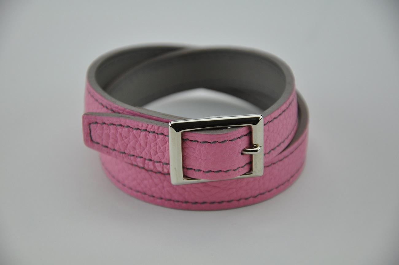 Bracelet 2 tours en taurillon rose, doublé en veau gris, pour femme. France by créateur designer LE NOËN