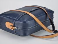 Grained blue cowhide for this luggage, business bag for man or woman. Made in France. Luxury knowhow