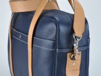 Business or wrrkend bag, for man or woman in blue grained cowhide. Luxury leathergoods by french designer.
