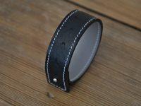 Black ostrich bracelet made by LE NOËN luxury leather goods designer in France.